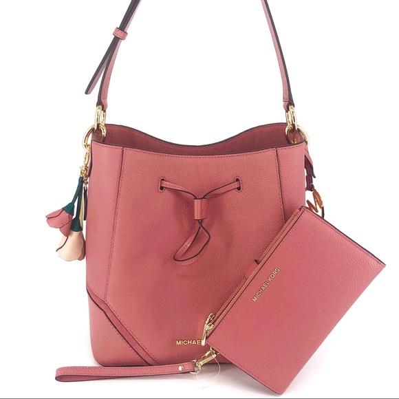 3PCS Michael Kors Nicole Bucket Bag Wallet Charms